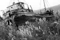 Ship wreck black and white