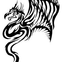 Black Tribal Dragon Art Prints & Posters by Cecilia L