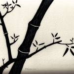 """Zen Sumi Antique Bamboo 2a Black Ink on Watercolor"" by Ricardos"
