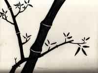 Zen Sumi Antique Bamboo 2a Black Ink on Watercolor