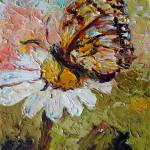 """Butterfly on Daisy Oil Painting by Ginette"" by GinetteCallaway"