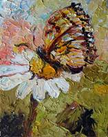 Butterfly on Daisy Oil Painting by Ginette