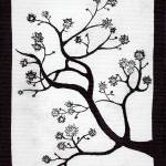"""Zen Sumi Bush Black Ink on White Canvas"" by Ricardos"