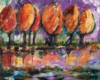 Autumn at the River's Edge Oil Painting by Ginette