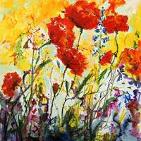Poppies Provence 2008 Watercolor by Ginette