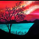 """Sunset, Tree Silhouette, Water"" by ArtByAlycia"