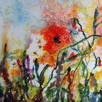 Abstract Poppies Watercolor and Ink by Ginette