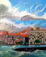 a two part painting of waikiki
