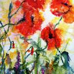 """Crazy About Poppies Modern Watercolor by Ginette"" by GinetteCallaway"