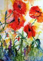 Crazy About Poppies Modern Watercolor by Ginette