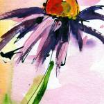 """Macro Coneflower Watercolor by Ginette"" by GinetteCallaway"