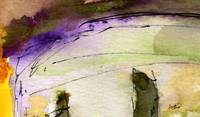 Modern Abstract Watercolor Purple Line #0303 by Gi