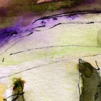 """Modern Abstract Watercolor Purple Line  by Gi"" by Ginette Callaway"