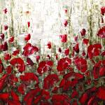 """Red Poppies Landscape"" by modernhouseart"