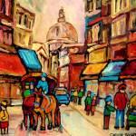 """""""Old Montreal with caleche"""" by carolespandau"""
