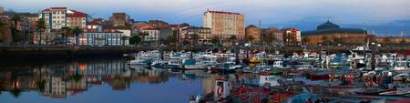 Port of Ferrol at dusk Panorama. La Coruna, Spain