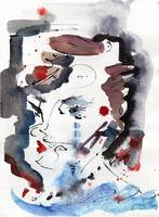 Abstract Face Gray & Blue Watercolor & Ink by Gine