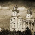 """Manti Temple great light and clouds sepia"" by houstonryan"