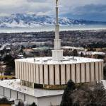 """Provo Temple cool feb eve people walk by"" by houstonryan"