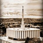"""Provo temple several merged files from above sepia"" by houstonryan"