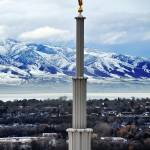 """moroni on provo temple shot from above"" by houstonryan"