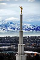 moroni on provo temple shot from above