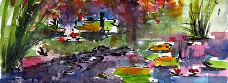 Alligator Land Watercolor Painting by Ginette