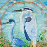 """Go on Alone- Great Blue Herons and an Egret"" by ArtSamadhi"