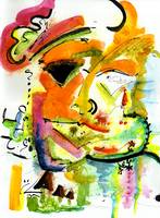 Modern Abstract Face Mask Watercolor Painting by G