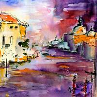 Canale Grande Venice Italy Abstract Watercolor
