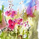 """Pink Lavatera & Bees Watercolor & Ink by Ginette"" by GinetteCallaway"