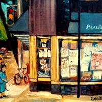 """BEAUTYS RESTAURANT WITH DARK AWNING"" by CAROLE SPANDAU"