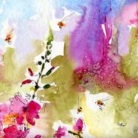 Pink Lavatera Square #2 Watercolor & Ink by Ginett