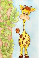 Giraffe with Leaves