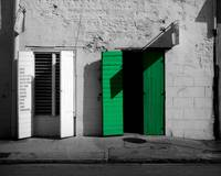 Shop with green door