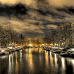 """Amsterdam by snowy night"" by arlette"