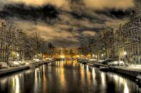 Amsterdam by snowy night