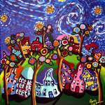 """Whimsical Trees Houses Van Gogh Sky"" by reniebritenbucher"