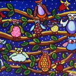 """Tree Full of Owls Folk Art"" by reniebritenbucher"