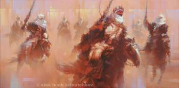 Mameluke's  attack - oil - canvas - 50x25cm