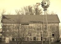 Wisconsin barn in sepia