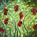 """red poppies abstract lanscape"" by modernhouseart"