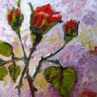 Rose Buds Study Oil Painting by Ginette