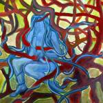 """blue person red tree"" by LOUISEDIONNE"