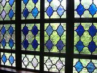 Blue stained glass window in Suzhou, China