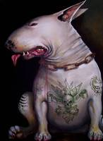 tattooed english bull terrier
