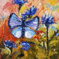 Blue Butterfly on Cornflowers Oil Painting Ginette