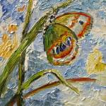 """Butterfly on Grass New Impressionist Oil Painting"" by GinetteCallaway"