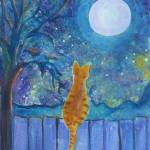 """Cat on a fence in the moonlight"" by paintingsbygretzky"