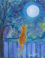 Cat on a fence in the moonlight